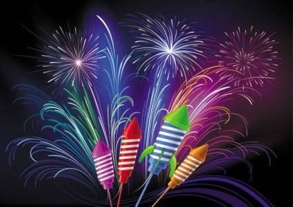 free vector Festive fireworks 03 vector