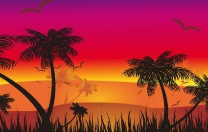 free vector Tropical Sunset