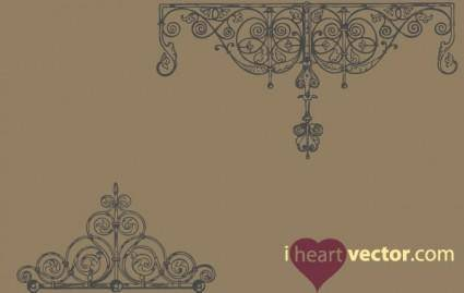 free vector Antique Iron Ornament Vector Pack