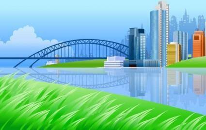 free vector City on river side with a bridge