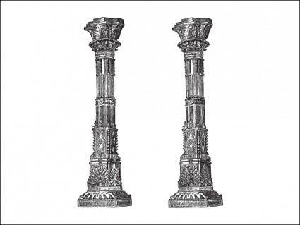 free vector Ancient Temple Columns