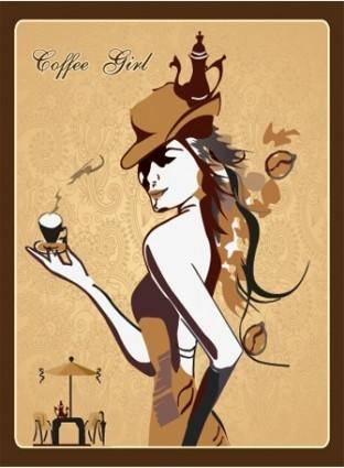Vector coffee girl