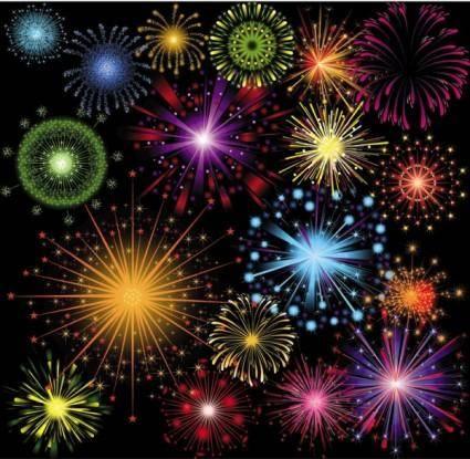 Festive fireworks 04 vector