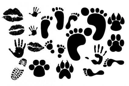 Lip footprints shoe prints fingerprint vector