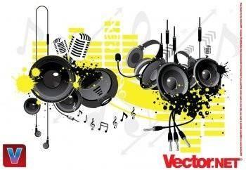 Music equipement vector - microphone vector, headset vector, audio vector earphone vector