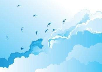 Birds in the Sky Vector, Blue Sky Vector, Clear Cloud Vector, Bird Vector EPS, Sky Vector EPS, Cloud Vector EPS