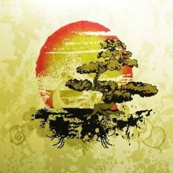 free vector Bonsai illustration vintage