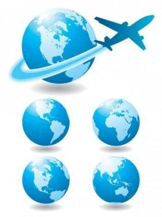 Globe and Airplane Vector, Blue marbel vector design
