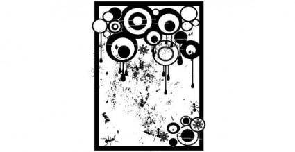 Grunge black and white circles