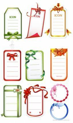 free vector 10 cards with bow vector