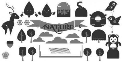 free vector Happy forest vectors