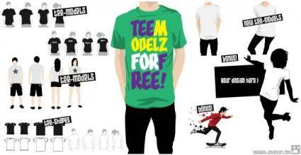 free vector T-shirt template and models