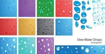 free vector Vector - Dew water drops