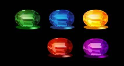 free vector Emeralds and other precious stones vector original