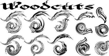 Woodcuts vector