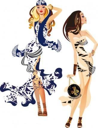 free vector Female fashion illustrator 04 vector