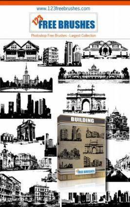 Buildings free vector and photoshop brush pack