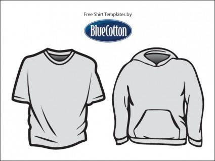 free vector Blue Cotton T-Shirt Templates