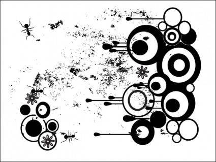 free vector Grungy, Nasty Circles Vector With Drips and Removable Ants