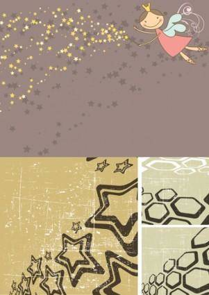 free vector Stars lovely illustrations vector