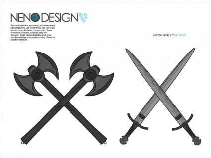 free vector War Tools - Axes and Swords