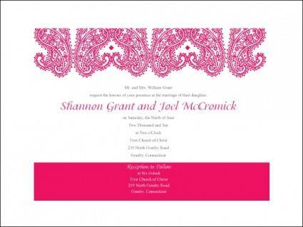 free vector Paisley Wedding Invitation