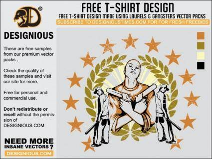 free vector Gangsta T-Shirt Design