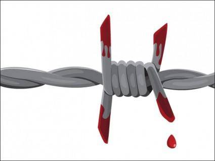 Bloody Barbed Wire Vector