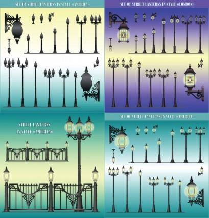 Europeanstyle street lamps chandelier lamp vector