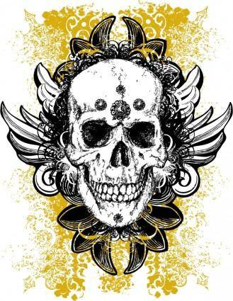 Free grunge skull vector illustration