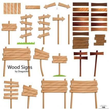free vector Wood Signs Vector Set