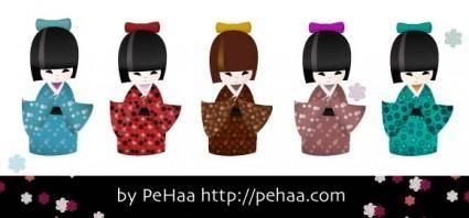 free vector Kokeshi dolls