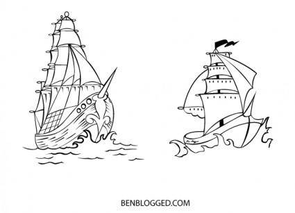 free vector FREE VECTOR PIRATE SHIPS