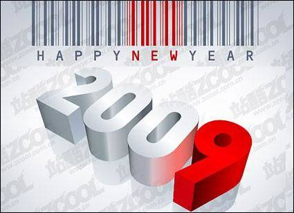 free vector Barcode, Happy New Year