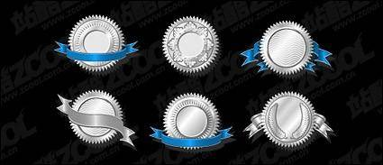 free vector Silver badge vector material