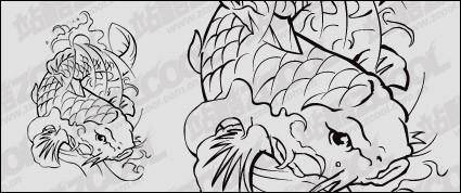 Carp line drawing vector logo material