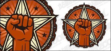 Vector circular logo fist star material
