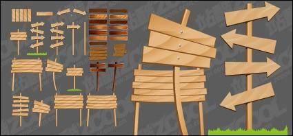 free vector Wood-grain arrow signs vector material