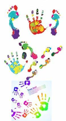 Colorful hand footprints vector