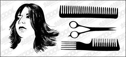 Hair haircut vector material