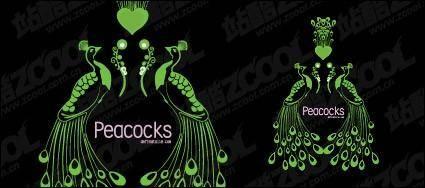 free vector Vector peacock green material