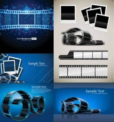 Blue film negatives vector