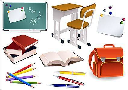 free vector Students school supplies vector material