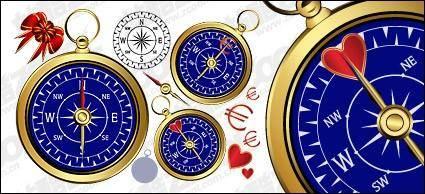 free vector Golden compass vector material