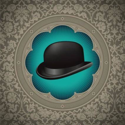 Gentleman hat background 02 vector