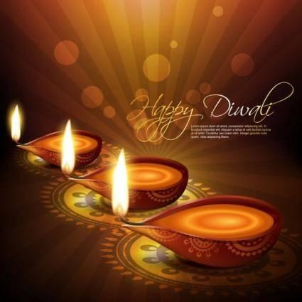 free vector Exquisite diwali background 04 vector