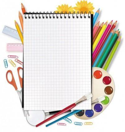 Painting supplies and stationery vector
