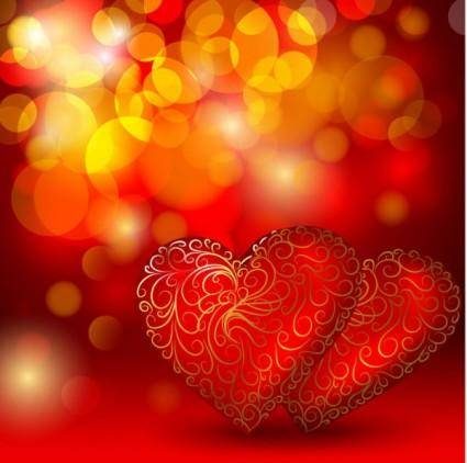 free vector Beautiful red heart background vector