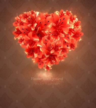 Romantic heartshaped background 03 vector