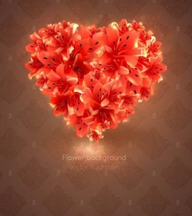 Romantic heartshaped background 03 vector